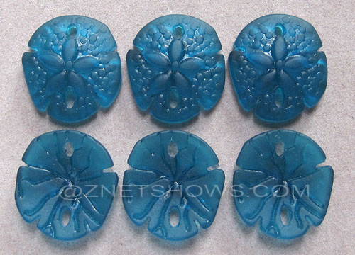 Cultured Sea Glass sand dollar Pendants  <b>21x19mm</b> 82-Teal earring size   per  <b>6-pc-bag</b>