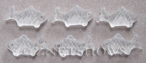 Cultured Sea Glass fish Pendants  <b>24x12mm</b> 01-Crystal    per  <b>6-pc-bag</b>