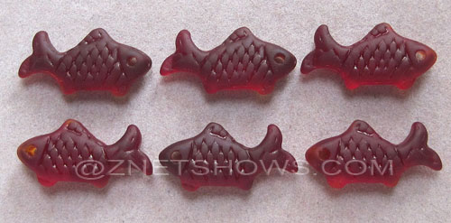 Cultured Sea Glass fish Pendants  <b>24x12mm</b> 05-Cherry Red    per  <b>6-pc-bag</b>
