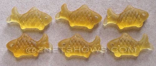 Cultured Sea Glass fish Pendants  <b>24x12mm</b> 16-Desert Gold    per  <b>6-pc-bag</b>