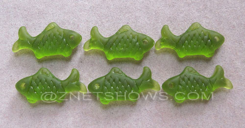 Cultured Sea Glass fish Pendants  <b>24x12mm</b> 22-Olive    per  <b>6-pc-bag</b>