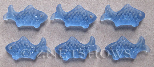 Cultured Sea Glass fish Pendants  <b>24x12mm</b> 31-Light Sapphire    per  <b>6-pc-bag</b>