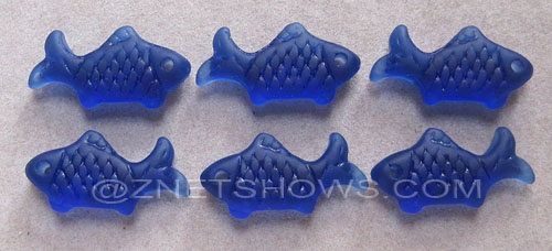 Cultured Sea Glass fish Pendants  <b>24x12mm</b> 33-Royal Blue    per  <b>6-pc-bag</b>