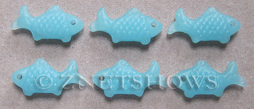 Cultured Sea Glass fish Pendants  <b>24x12mm</b> 46-Opaque Blue Opal    per  <b>6-pc-bag</b>