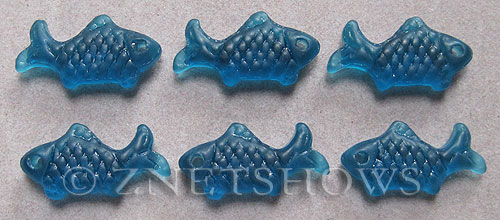 Cultured Sea Glass fish Pendants  <b>24x12mm</b> 82-Teal    per  <b>6-pc-bag</b>