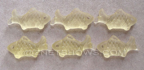 Cultured Sea Glass fish Pendants  <b>24x12mm</b> 84-Lemon    per  <b>6-pc-bag</b>