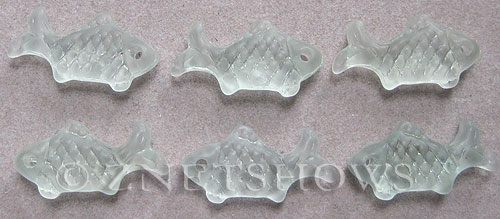 Cultured Sea Glass fish Pendants  <b>24x12mm</b> 88-Light Aqua `Coke` bottle Seafoam    per  <b>6-pc-bag</b>