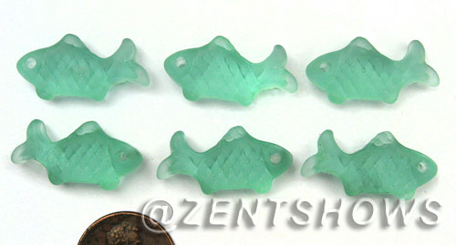 Cultured Sea Glass fish Pendants  <b>24x12mm</b> 89-Autumn Green    per  <b>6-pc-bag</b>