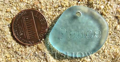Cultured Sea Glass engraved Pendants  <b>30x26mm</b> 28-Turquoise Bay flat freeform shape engraved or etched inspirational characters with `peace`   per  <b>1-pc-bag</b>