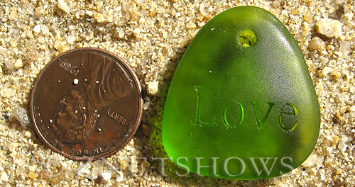 Cultured Sea Glass engraved Pendants  <b>28x25mm</b> 22-Olive flat freeform shape engraved or etched inspirational characters with `love   per  <b>1-pc-bag</b>