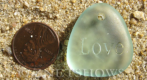 Cultured Sea Glass engraved Pendants  <b>28x25mm</b> 88-Light Aqua `Coke` bottle Seafoam flat freeform shape engraved or etched inspirational characters with `love   per  <b>1-pc-bag</b>
