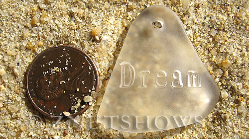 Cultured Sea Glass engraved Pendants  <b>32x31mm</b> 01-Crystal flat freeform shape engraved or etched inspirational characters with `dream`   per  <b>1-pc-bag</b>