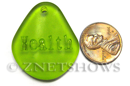 Cultured Sea Glass engraved Pendants  <b>35x30mm</b> 22-Olive flat freeform shape engraved or etched inspirational characters with `health`   per  <b>1-pc-bag</b>