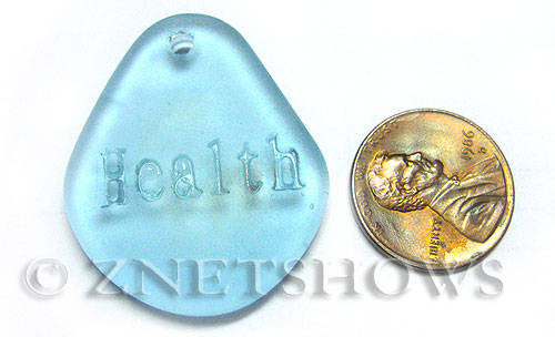 Cultured Sea Glass engraved Pendants  <b>35x30mm</b> 28-Turquoise Bay flat freeform shape engraved or etched inspirational characters with `health`   per  <b>1-pc-bag</b>