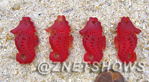 Cultured Sea Glass seahorse Pendants  <b>29x17mm</b> 05-Cherry Red Hand-made, sand and gravel tumbled   per  <b>4-pc-bag</b>