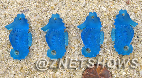 Cultured Sea Glass seahorse Pendants  <b>29x17mm</b> 30-Pacific Blue Hand-made, sand and gravel tumbled   per  <b>4-pc-bag</b>