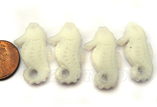 Cultured Sea Glass seahorse Pendants <b>29x17mm</b>  42-Opaque White  Hand-made Seahorse per <b>4-pc-bag</b>