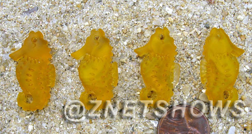 Cultured Sea Glass seahorse Pendants  <b>29x17mm</b> 57-Saffron Yellow Hand-made, sand and gravel tumbled   per  <b>4-pc-bag</b>