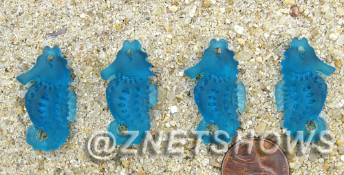 Cultured Sea Glass seahorse Pendants  <b>29x17mm</b> 82-Teal Hand-made, sand and gravel tumbled   per  <b>4-pc-bag</b>