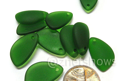 Cultured Sea Glass eclipse Pendants  <b>21x13mm</b> 25-Shamrock lovely baby size, right side   per  <b>10-pc-bag</b>