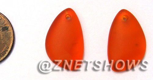 Cultured Sea Glass eclipse Pendants  <b>21x13mm</b> 83-Tangerine lovely baby size   per  <b>1-pair-bag</b>