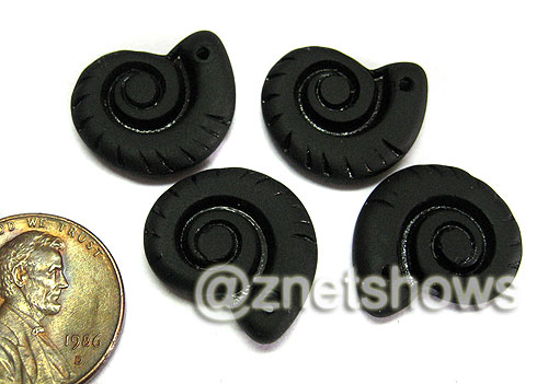 Cultured Sea Glass ammonites Pendants  <b>18x15mm</b> 02-Jet Black    per  <b>4-pc-bag</b>