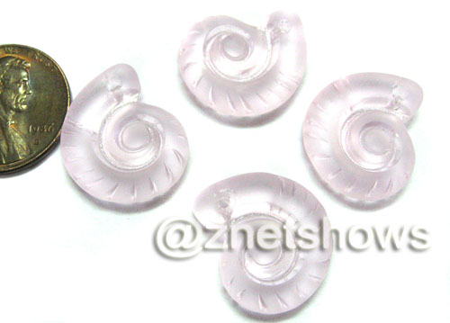Cultured Sea Glass ammonites Pendants  <b>18x15mm</b> 06-Blossom Pink    per  <b>4-pc-bag</b>