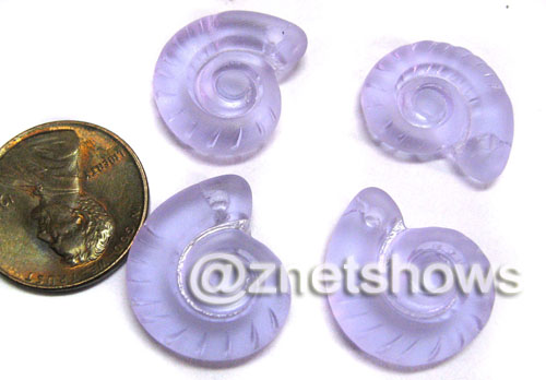Cultured Sea Glass ammonites Pendants  <b>18x15mm</b> 39-Periwinkle Changes    per  <b>4-pc-bag</b>