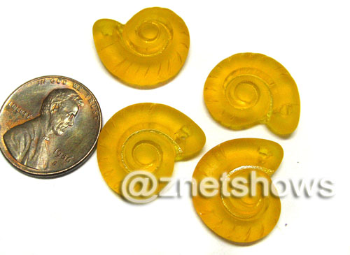 Cultured Sea Glass ammonites Pendants  <b>18x15mm</b> 57-Saffron Yellow    per  <b>4-pc-bag</b>