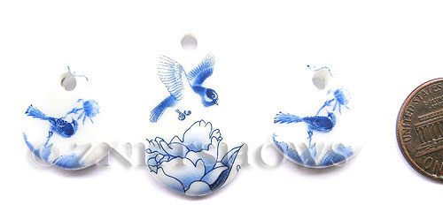 Cultured Sea Glass designer-set Pendants  <b>20x20mm-32x20mm</b> 142-Sea Porcelain Bird plate cultured sea porcelain triangle charms   per  <b>3-pc-set</b> UPC:  8-120680267-1
