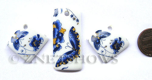 Cultured Sea Glass designer-set Pendants  <b>22x22mm-40x20mm</b> 142-Sea Porcelain Butterfly bowl cultured sea porcelain diamond square charms    per  <b>3-pc-set</b>   UPC Code: 8-1206802169-5