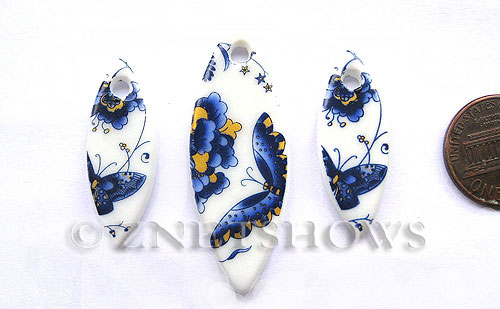 Cultured Sea Glass designer-set Pendants  <b>33x13mm-48x19mm</b> 142-Sea Porcelain Butterfly plate  cultured sea porcelain sprindle charms   per  <b>3-pc-set</b>  UPC Code: 8-1206802170-1