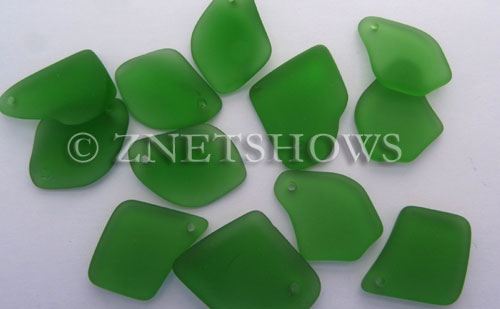 Cultured Sea Glass top-drilled flat freeform mix Pendants  <b>varied</b> 25-Shamrock   per  <b>12-pc-bag</b>
