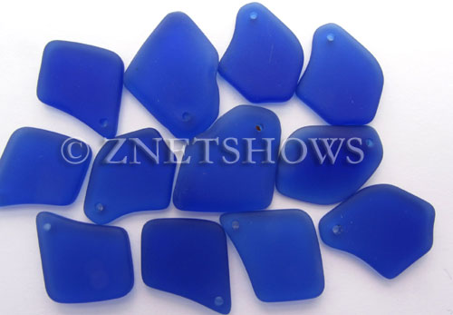 Cultured Sea Glass top-drilled flat freeform mix Pendants  <b>varied</b> 33-Royal Blue   per  <b>12-pc-bag</b>