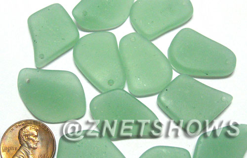 Cultured Sea Glass top-drilled flat freeform mix Pendants  <b>varied</b> 892-Opaque Seafoam Green flat freeform mix Pendants  per  <b>12-pc-bag</b>