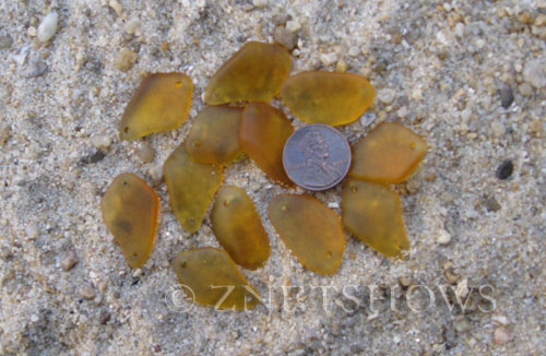 Cultured Sea Glass double-hole flat freeform mix Pendants  <b>varied</b> 16-Desert Gold   per  <b>12-pc-bag</b>