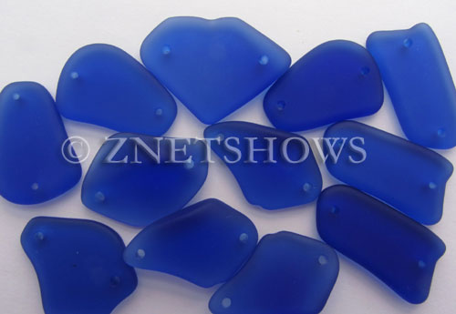 Cultured Sea Glass double-hole flat freeform mix Pendants  <b>varied</b> 33-Royal Blue   per  <b>12-pc-bag</b>
