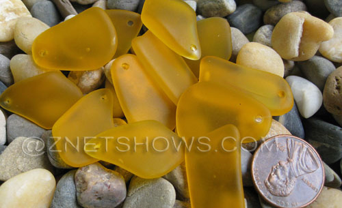 Cultured Sea Glass freeform flat Pendants  <b>10-15mm</b> 16-Desert Gold earring size  per  <b>12-pc-bag</b>