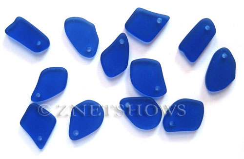 Cultured Sea Glass freeform flat Pendants  <b>10-15mm</b> 33-Royal Blue earring size  per  <b>12-pc-bag</b>