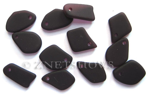 Cultured Sea Glass freeform flat Pendants  <b>10-15mm</b> 35-Purple  earring size  per  <b>12-pc-bag</b>