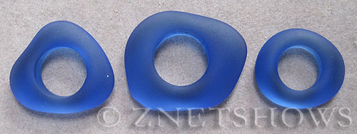 Cultured Sea Glass fancy ring Pendants  <b>varied</b> 33-Royal Blue    per  <b>3-pc-bag</b>