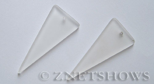 Cultured Sea Glass shield Pendants  <b>48x21mm</b> 01-Crystal triangle   per  <b>piece</b>
