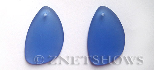 Cultured Sea Glass eclipse Pendants  <b>36x24mm</b> 31-Light Sapphire teardrop nugget   per  <b>piece</b>