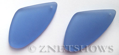 Cultured Sea Glass sun dial Pendants  <b>53x22mm</b> 31-Light Sapphire triangle   per  <b>piece</b>