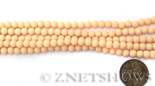Opaque peach Cultured Sea Glass round Beads  <b>4mm</b> (48 pcs in 8-in-str)    per  <b>5-strand-hank</b>