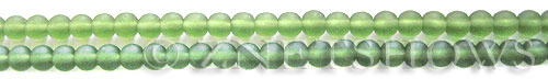 Cultured Sea Glass round Beads  <b>4mm</b> 25-Shamrock (48 pcs in 8-in-strand)   per  <b>5-strand-hank</b>