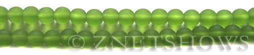 Cultured Sea Glass round Beads  <b>6mm</b> 22-Olive (32 pcs in 32 pcs in 8-in-str)   per  <b>5-strand-hank</b>