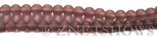 Cultured Sea Glass round Beads  <b>6mm</b> 37-Medium Amethyst (32 pcs in 8-in-str)   per  <b>5-strand-hank</b>