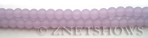 Cultured Sea Glass round Beads  <b>6mm</b> 85-Opaque Periwinkle (32 pcs in 8-in-str)   per  <b>5-strand-hank</b>