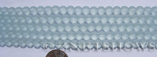 Cultured Sea Glass round Beads  <b>6mm</b> 88-Light Aqua `Coke` bottle Seafoam (32 pcs in 8-in-str)   per  <b>5-strand-hank</b>